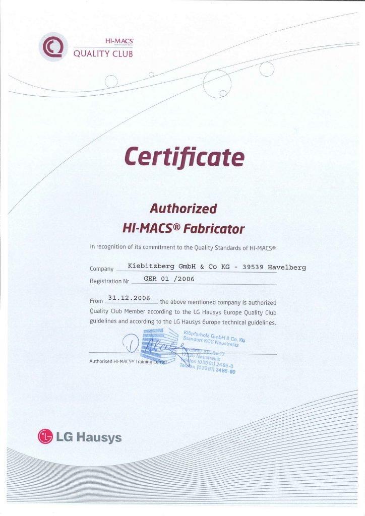 2006 - Zertifikat Autorisierter LG HI-MACS® Mineralwerkstoff ...