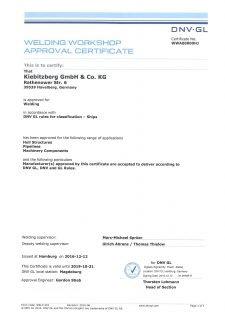 DNV-GL Zertifikat Welding
