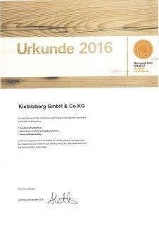 Zertifikat Klöpferholz 2016
